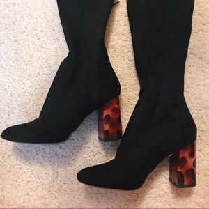 ASOS brand thigh high, high-heeled boots